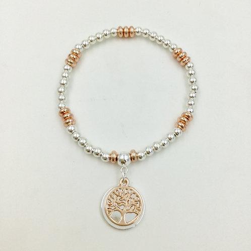 Stretchy bracelet tree of life silver rose gold