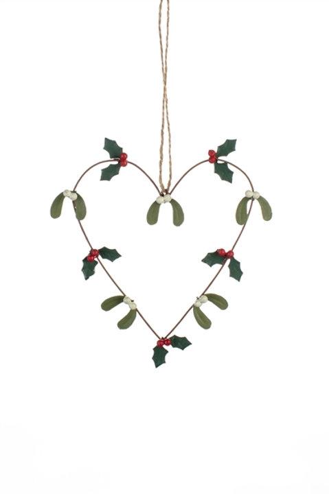 Heart Mistletoe Heart Hanging Decoration