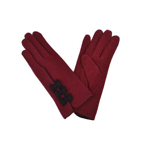 Triple Bow Design Ladies Wool Gloves -Burgundy and Black