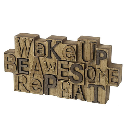 Wake Up Wooden Block Sign