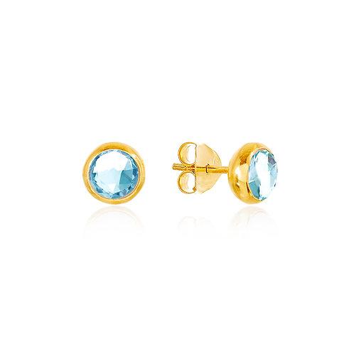 18kt Gold Vermeil Stud Earrings - Blue Topaz