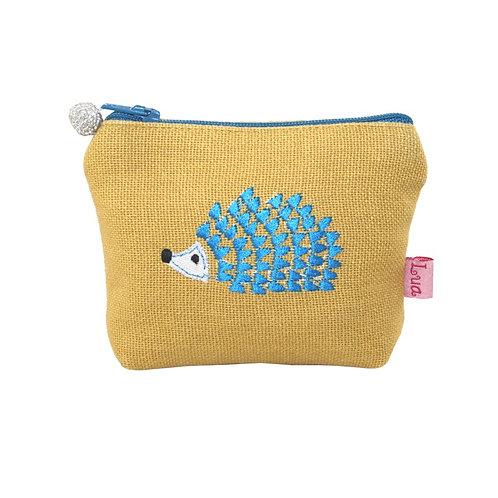 Embroidered Hedgehog Mini Purse - Ochre