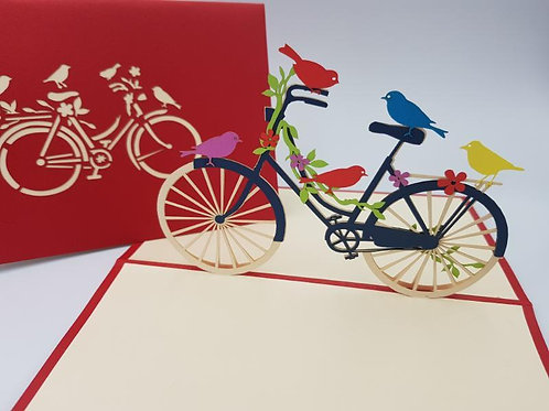 Birds on a Bike Pop Up Card