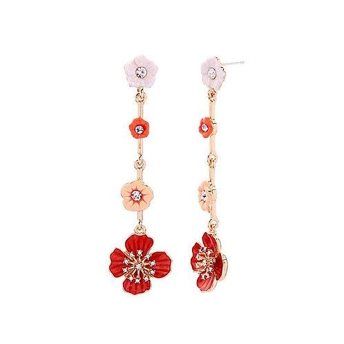 Enamel flower drop earring - apricot