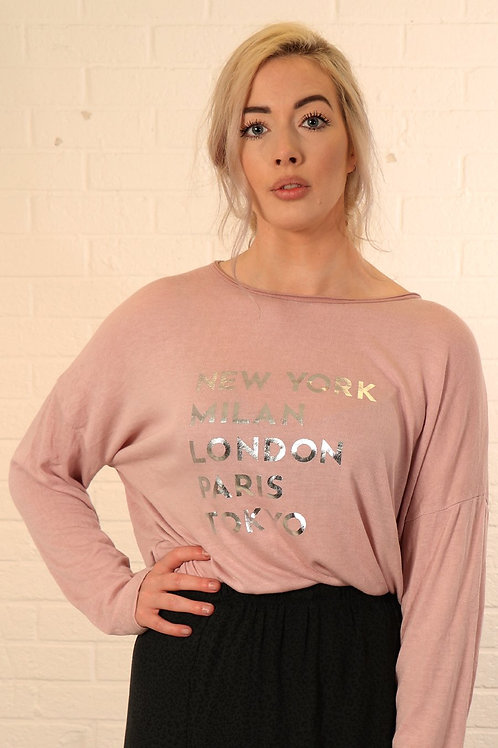 Top With Silver Metallic Fashion Capitals   Dusty Pink