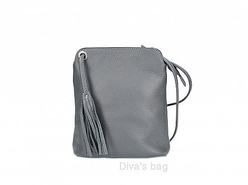 Dark Grey Tassel Small Crossbody Bag - Italian Leather