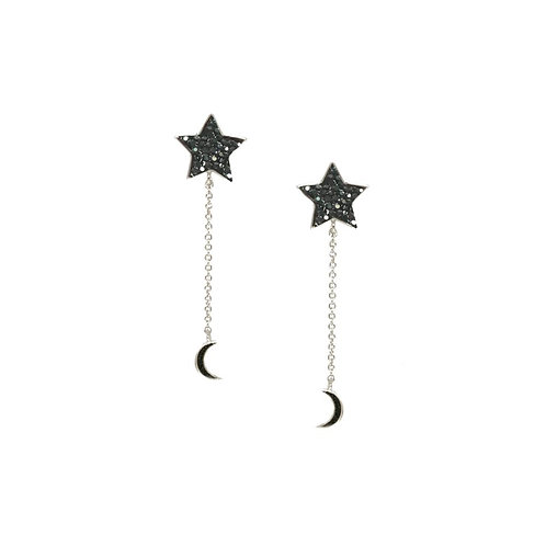 Pewter Star and Moon Long Drop Earring