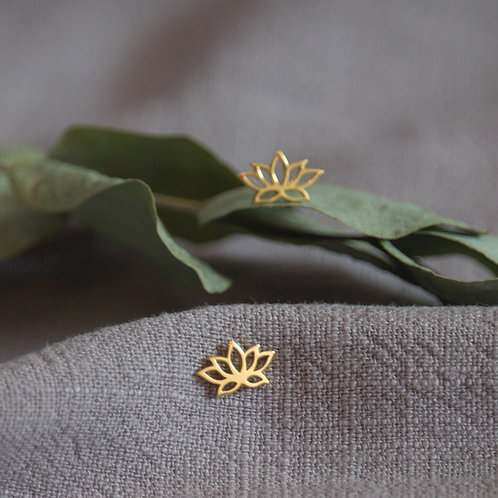 Lotus Flower Sterling Silver  and Gold Plating  Stud