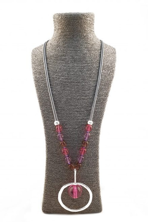 Long string necklace with beads  with large bead  - pink