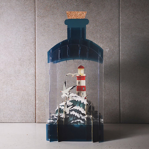 Message in a bottle card- Lighthouse
