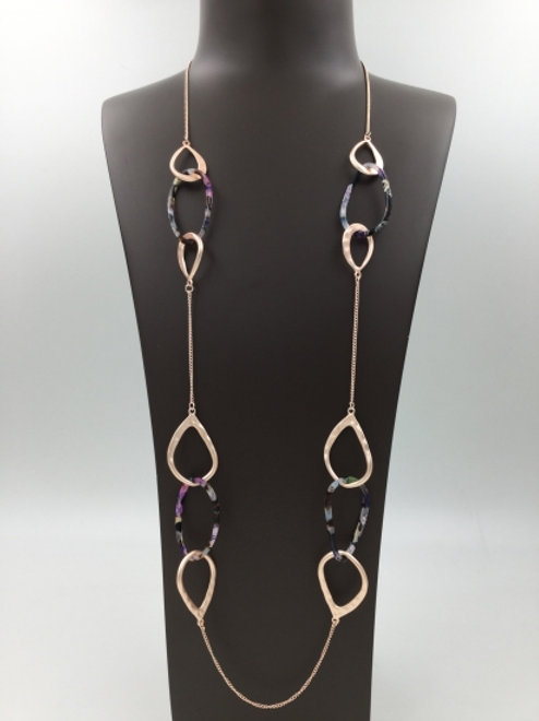 Costume Silver Long Link Necklace with Tortoise Shell Links