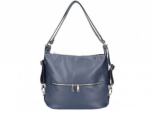 2 in 1 Shoulder & Backpack  -Navy Italian Leather