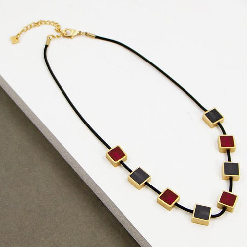 Contemporary square resin inlay components on rubber necklace