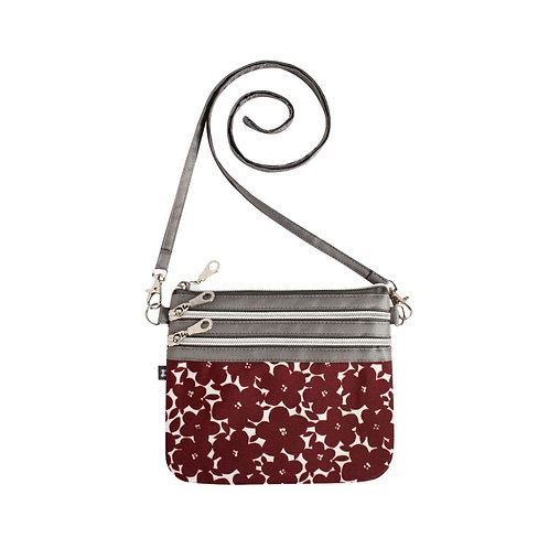 Oil Cloth Pouch Bag- Red Flower