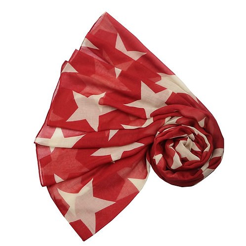 Simple Star Scarf - Red