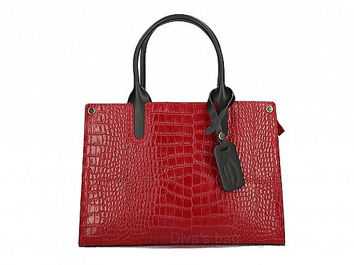 Italian Leather Croc Effect Handbag - Red