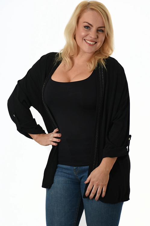 Soft Open Top with Button Sleeves - Black
