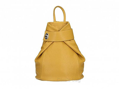 Fold over Italian Leather Backpack - Mustard