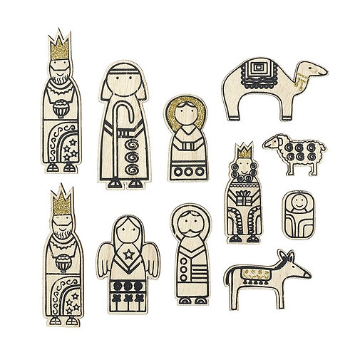 Wooden Cartoon Nativity Black & Gold