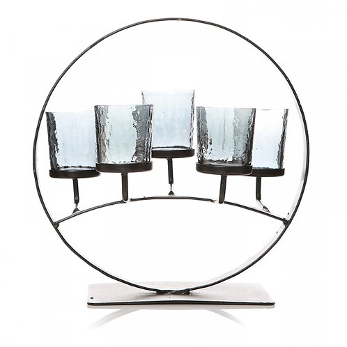 5 Candle Stand - Circle, Smoked Glass