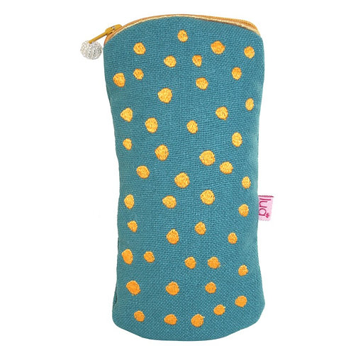 Embroidered Dots Glasses Purse -Teal