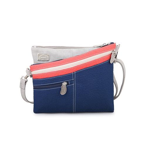 Blue Sloped  Crossbody Bag Vegan Leather