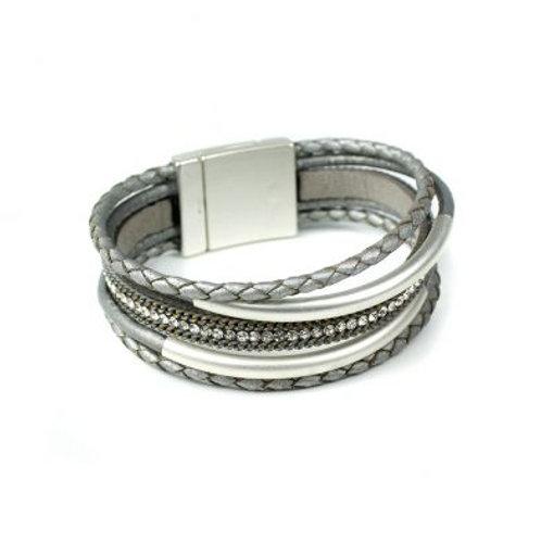 Grey Multi Strand Plaited Leather Bracelt