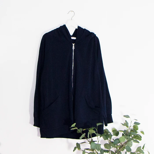 Plain jersey hooded jacket with zip- Navy