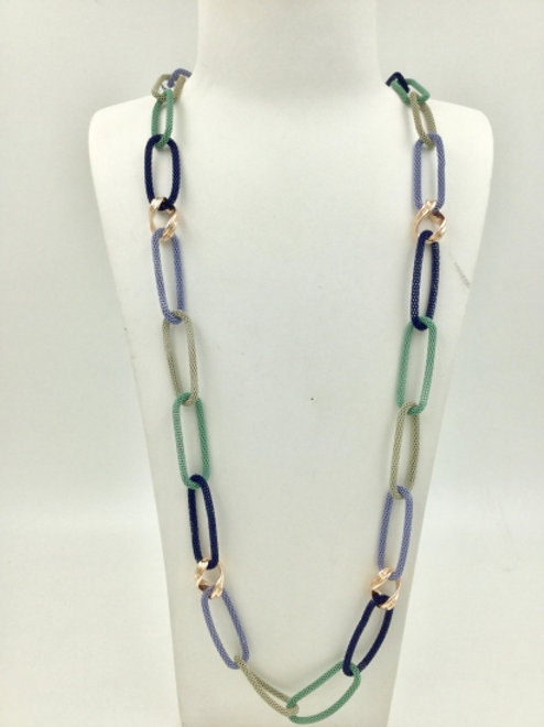 Long Chain Link Necklace in Blues