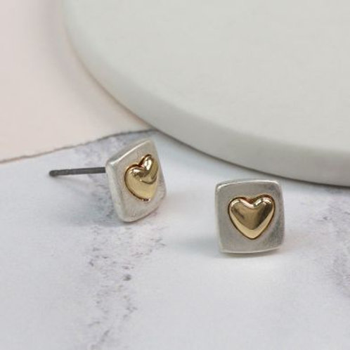 Silver Plated Square Earrings With Gold Heart