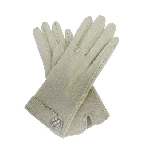 Button Trim Glove - Cream
