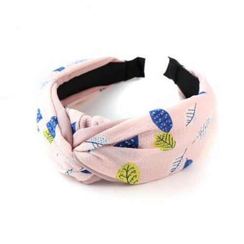 Headband - Pink mixed leaf print