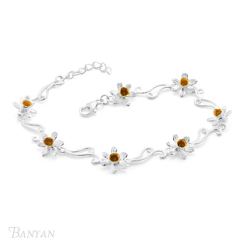 Gold Plated Daffodil's and Sterling Silver Bracelet