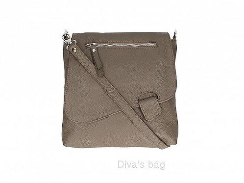 Taupe Slim  Cross Body Bag -   Italian Leather