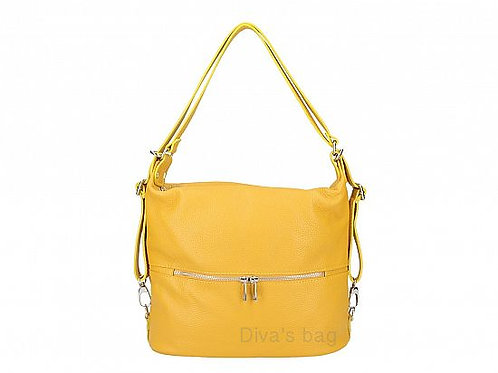 2 in 1 Shoulder & Backpack - Mustard Italian Leather