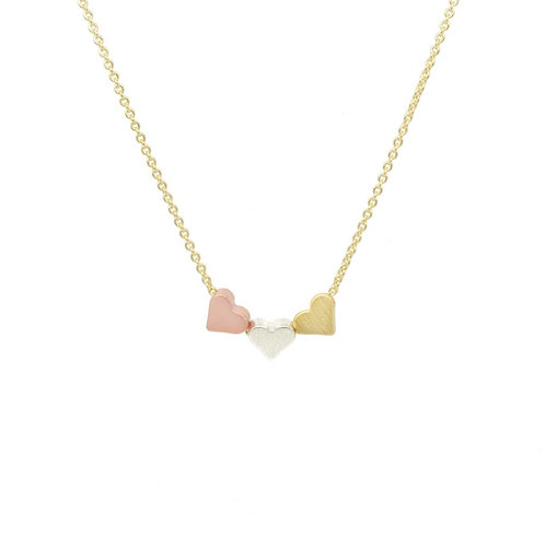 Triple Heart Pendant on Gold Plated Chain
