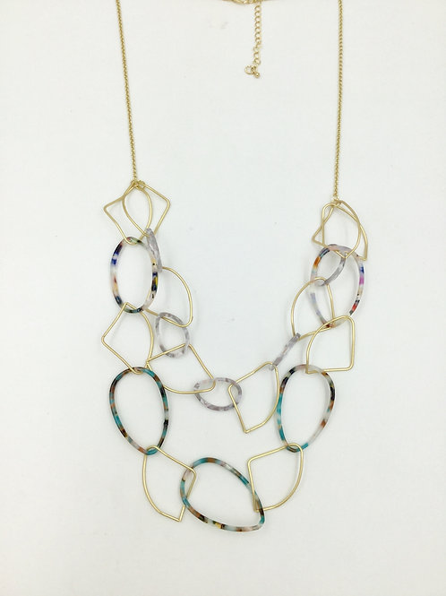 Long necklace chain link tortoise shell multi colour & gold