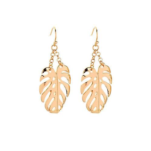 Gold Leaf on a Chain Drop Earrings