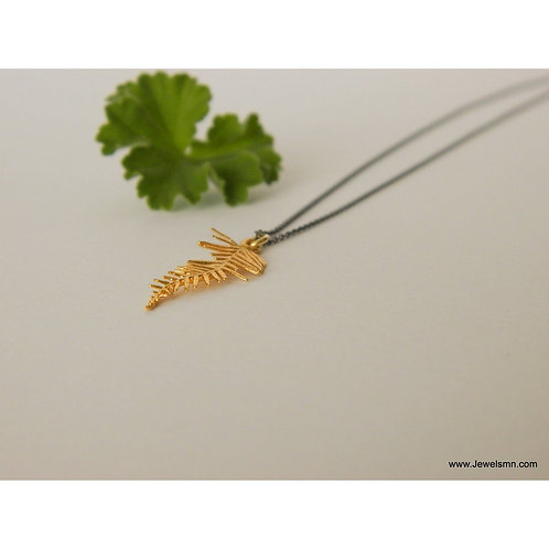 Gold Plated Sterling Silver Fern Pendant with Oxidised Silver Chain
