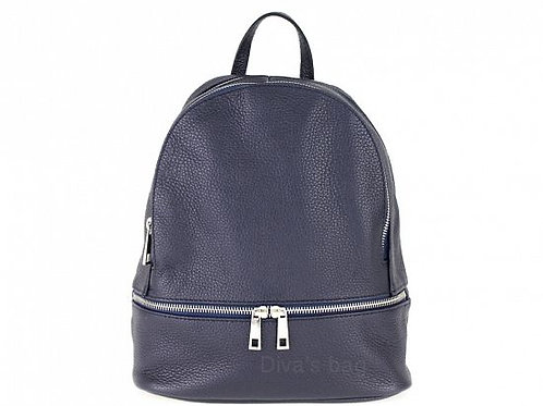 Italian Leather Backpack -Navy
