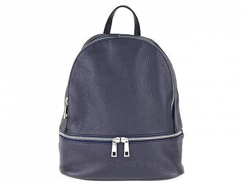 Italian Leather Backpack - Dark Blue