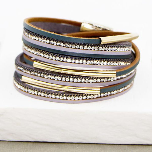 Two tone grey crystal and tubes PU wrap bracelet