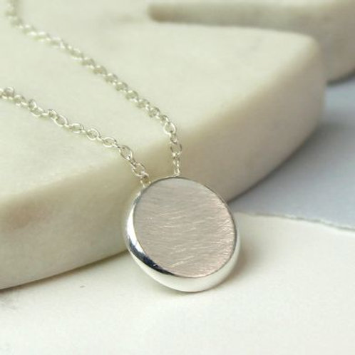 Sterling Silver Scratched Disc Necklace