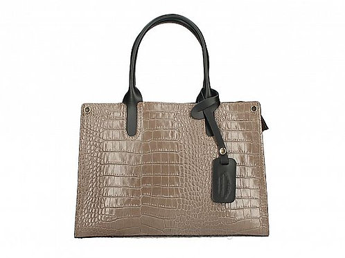 Italian Leather Croc Effect Handbag - Taupe