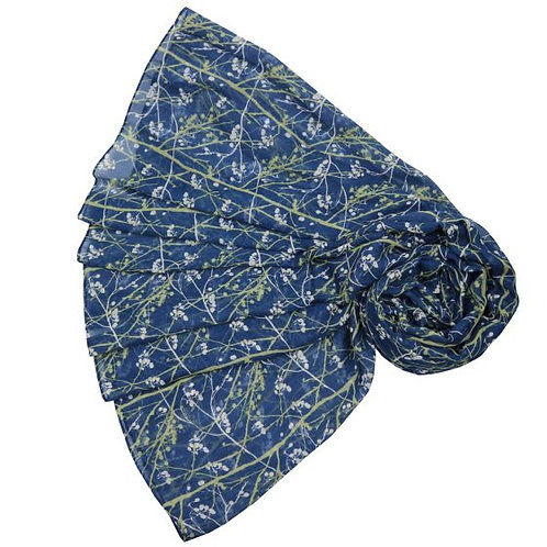 Branch and berry scarf - Navy