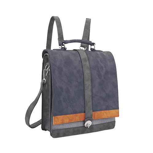 Blue Double Flap Back Pack Vegan Leather