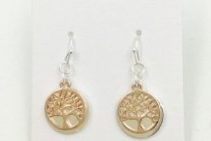 Tree of Life Drop Earrings - Rose gold and silver