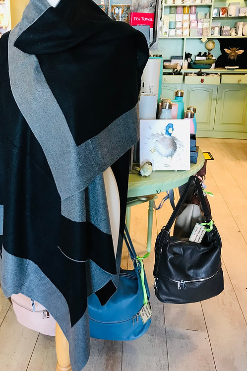 Black and Grey Reversible Wool Mix Cape