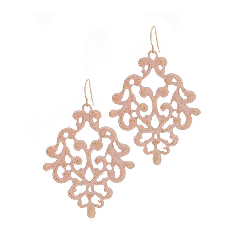 Small Lace Effect Drop Earrings - Pink