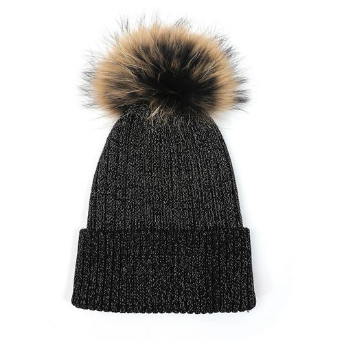 Pom Pom Knit Hat - Black